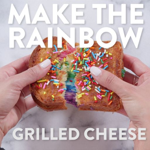 When we saw this rainbow grilled cheese from Kala Toast, we all collectively lost our sh*t and pondered buying a ticket to Hong Kong. Instead, we just decided to make it ourselves and we're so happy we did! You too can make your food dreams come true. Just keep watching!