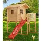 Woodinis Kinderspielhaus aus Holz auf Stelzen rote Rutsche