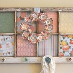 Cute use for an old window & pretty fabrics or paper.