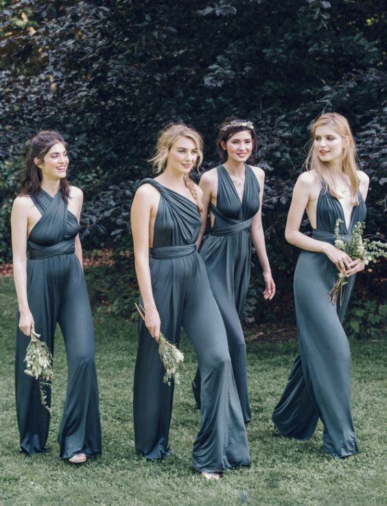 Elegant teal jumpsuit bridesmaid dresses with versatile crisscross straps for different neckline designs; Via Twobirds Bridesmaid