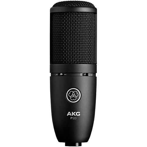 $84 AKG P120 Project Studio Condenser Microphone Audio Frequency bandwidth: 20 to 20000 Hz Sensitivity: 24 mV/Pa Equivalent Noise Level: 19 dB-A Signal to Noise: 75 dB-A Preattenuation Pad: -20 dB Bass Cut Filter: 300 - 6 dB/octave Hz Electrical Impedance: <= 200 Ohms
