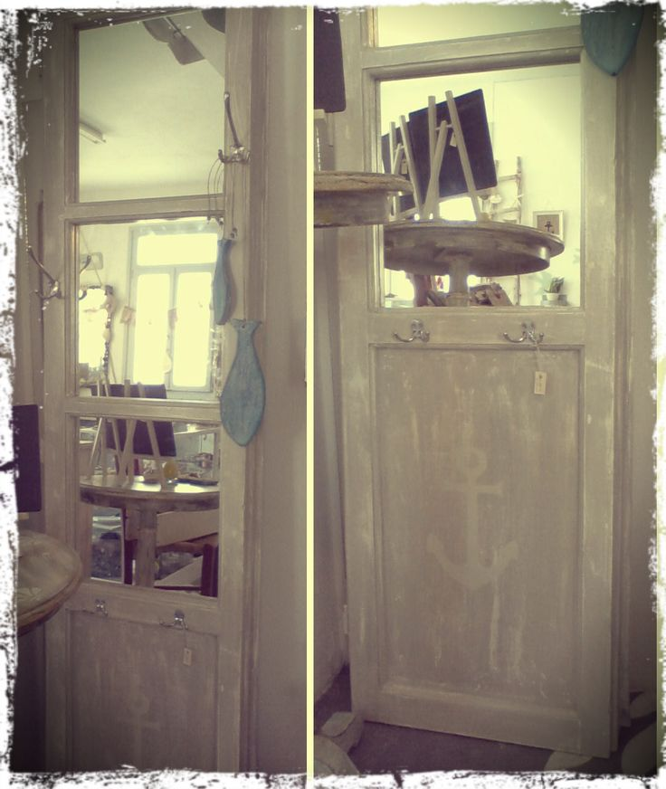 Tall mirror-hanger, distressed and hand painted, from an old door panel!! I love it