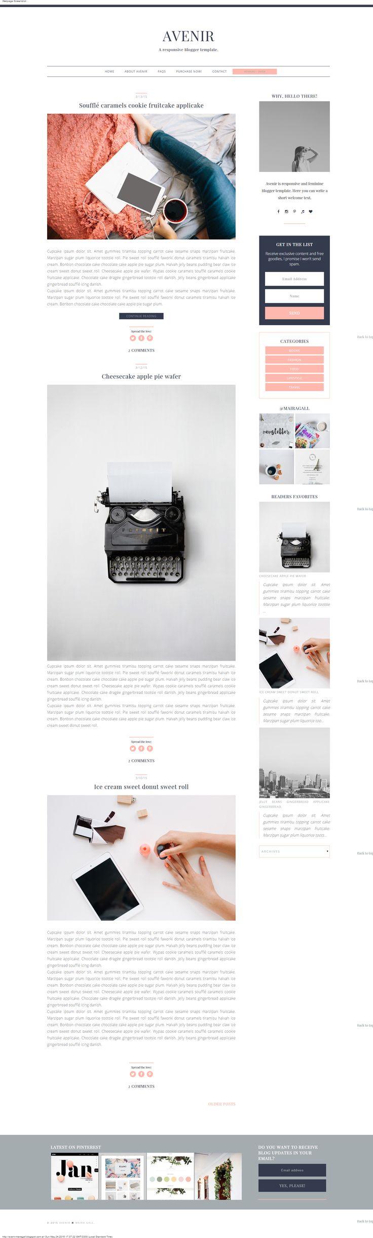 Blogger template. Responsive blog design. Feminine blog theme.