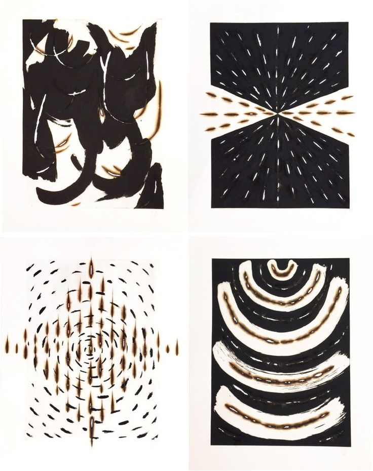 Force (Gesture, Burst, Lines, Arc) print portfolio by Kathleen Kucka. From Working In Print at http://www.russelljanis.com/shop/kathleen-kucka-vital-force-print-portfolio/