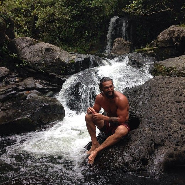 Pin for Later: Jason Momoa Has SO MUCH Fun When He Works Out, It's Ridiculous If there's a river or waterfall, you'd best believe he's swimming in it.