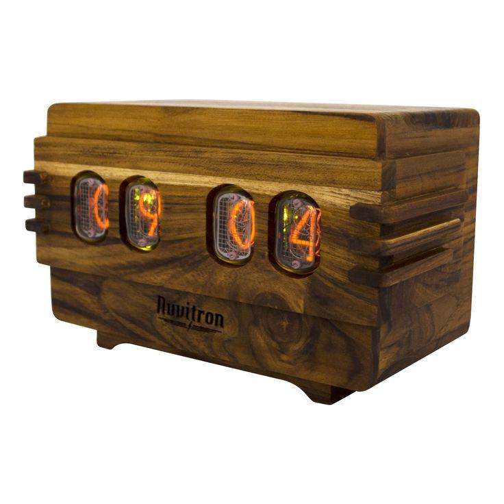 The Vintage Nixie Tube Clock - Volta #Nuvitron #gadget #nixie #etsyshop #woodworkingvip #legno #interiordesigner #teak #style #desingwanted #vintagetimepiece #woodenclock #clock