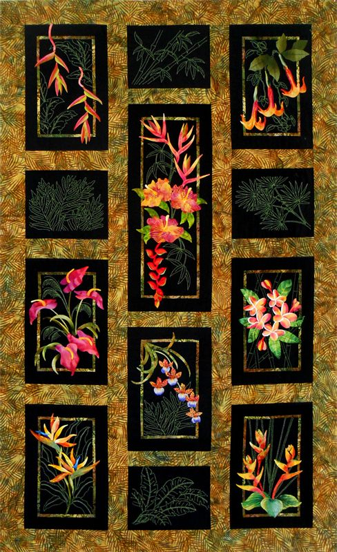Exotics Flowers from the Tropics Quilt by Sylvia Pippen. She combines applique with sashiko stitches very effectively.
