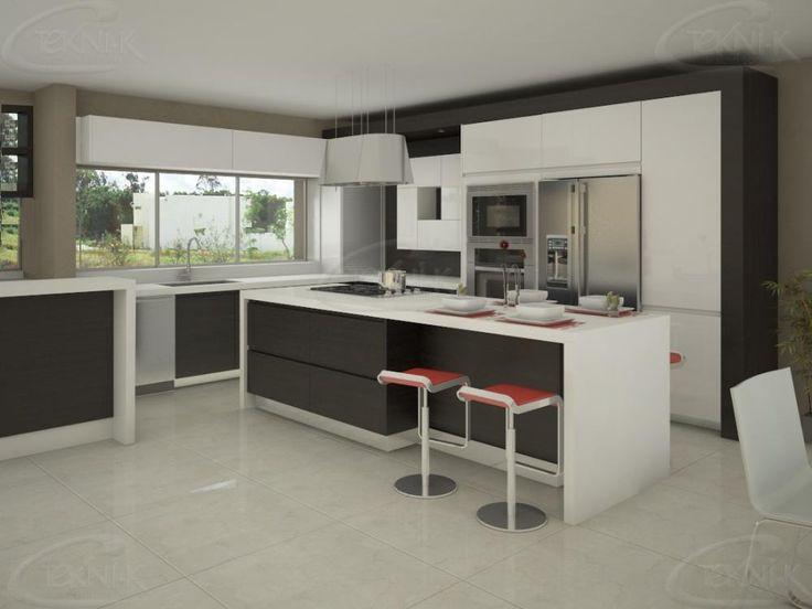 Tono chocolate texturizado en mueble alacenas blancas en for Cocina con isla y desayunador
