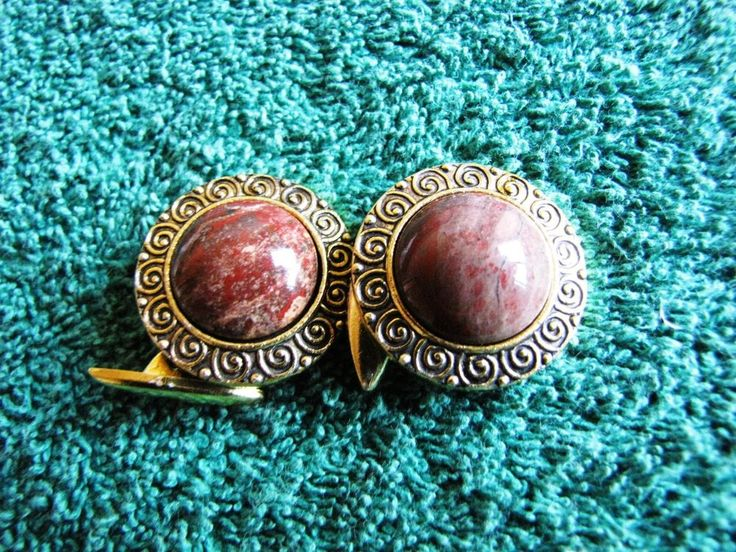 Vintage Men's Jewelry Cufflinks Russia USSR Gold plated Stone Brown Very Rare