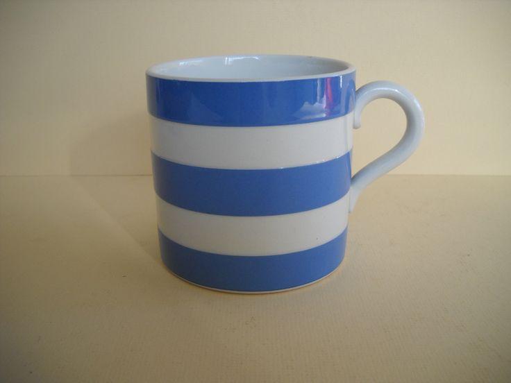 Vintage Cornishware Cornish Kitchenware Blue and White Striped Mug Green Backstamp by Modernaire on Etsy