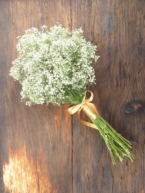 A simply lovely dried babys breath bouquet with your choice of wrap in satin ribbon colors, up-cycled coffee bag burlap or sisal twine. This all natural dried bouquet was inspired by a fabulous bride and will make a wonderful keepsake after the wedding. Approximate Measurements: 14 high by 7 - 7.5 wide. There is some variation from one to another. Gold satin ribbon is pictured in the first photo above and the Burlap with Twine wrap in the next two photos. The fourth photos shows this…