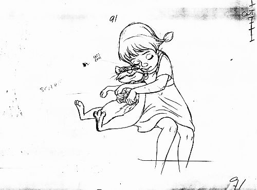 Penny and Rufus pencil test from The Rescuers, animated by Ollie Johnston (click for animation)