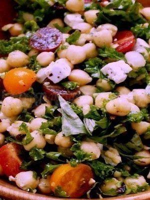 Summer Chickpea Kale Salad with Feta, Olives Basil