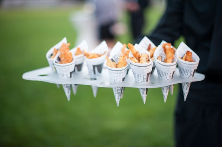 #Appetizers | #FrenchFries | See the wedding on SMP - http://www.StyleMePretty.com/massachusetts-weddings/cape-cod/2013/12/16/shining-tides-wedding/ Scobey Photography