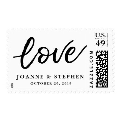 Elegant love calligraphy script wedding postage - minimal gifts style template diy unique personalize design