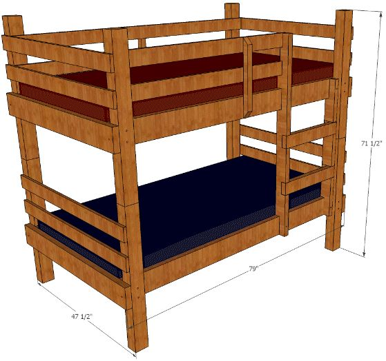 A step-by-step, illustrated guide to build your own, sturdy, rustic bunk beds, for less than the cost of popular, cheaply made bunks!