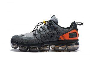Nike Air VaporMax Run FlyKnit Utility Charcoal Gray Orange Men s Running  Shoes f79ec992e