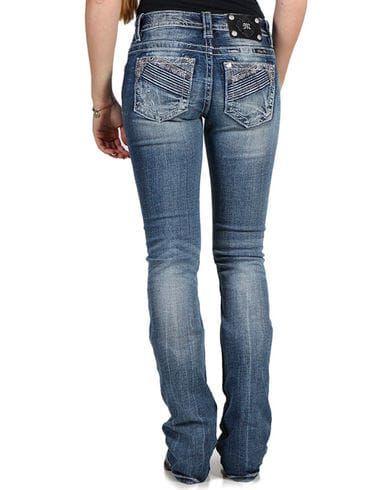Miss Me Women's Mid-Rise Boot Cut Jeans , Blue