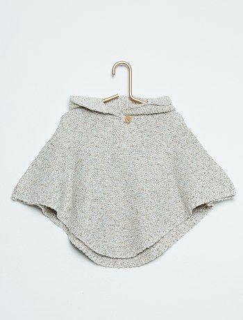 Poncho à capuche en maille tricot                             beige Bébé fille   - Kiabi