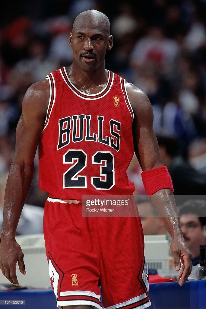 Michael Jordan #23 of the Chicago Bulls looks on against the Golden State Warriors on January 31, 1997 at San Jose Arena in San Jose, California.