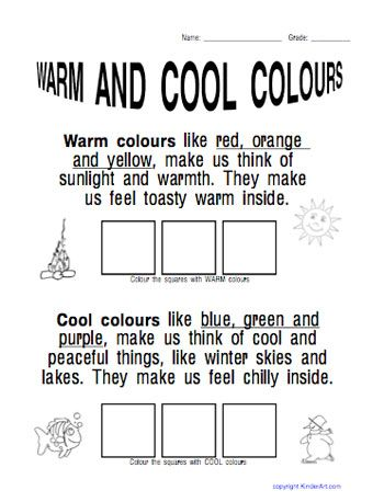 Cool color. Warm color worksheet