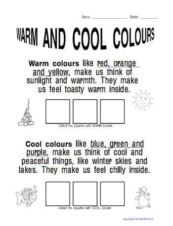 Cool color. Warm color worksheet