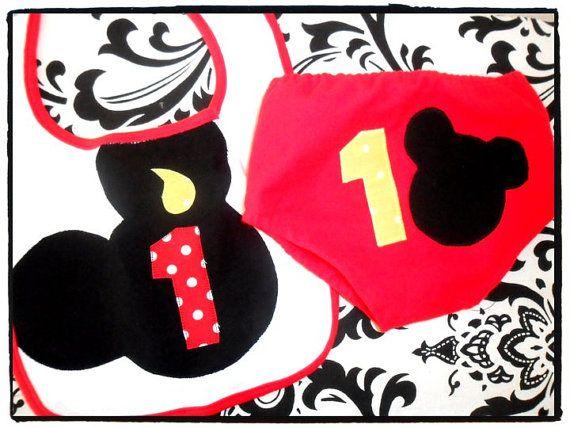 Mickey Mouse Birthday Bib & Diaper Cover Set $24 #mickey #party #etsy