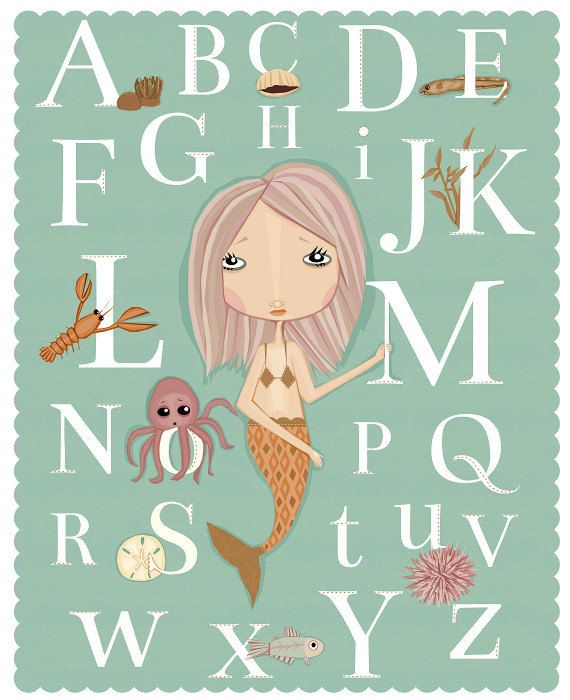 Alphabet Poster Mermaid Under The Sea Art Print For Nursery or Little Girl Room or Classroom. $18.00, via Etsy.