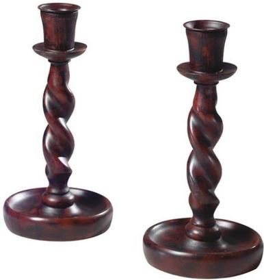 Candlesticks Candlestick MOUNTAIN Traditional Barley Twist Pair Resin New OK-597