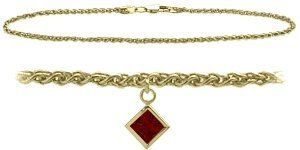 10K Yellow Gold 9 Inch Wheat Anklet with Genuine Garnet Square Charm Elite Jewels. $179.50. Save 44%!