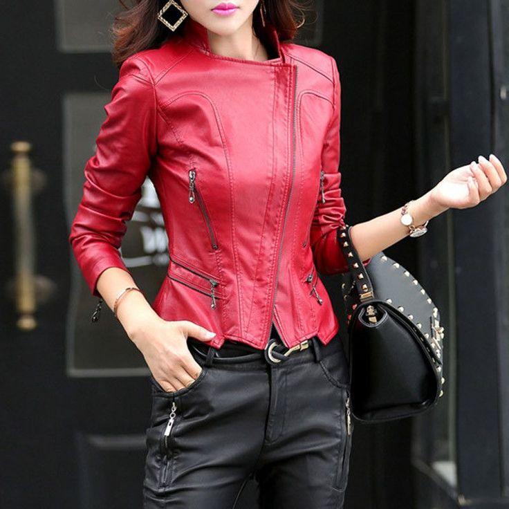Dmart7dealTANGNEST Women Leather Jacket 2016 New Plus Size M-5XL Women Motor Jackets Solid Slim PU Leather Motorcycle Jackets Coats WWJ563