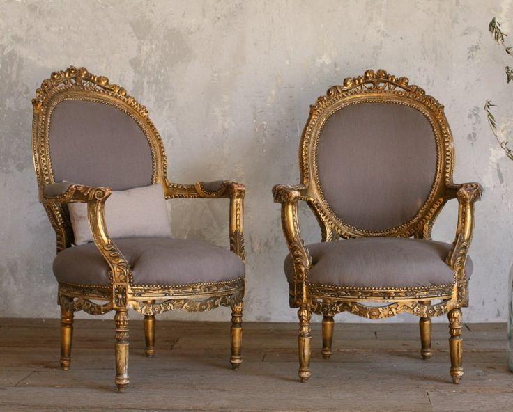 Vintage Gilt Louis XVI French Style Hand Carved Armchairs Pair Roses Antique Chairs