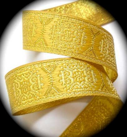 Woven Jacquard  Ribbon  1 1/16  x 3 yards  Gold on  Gold Metx500