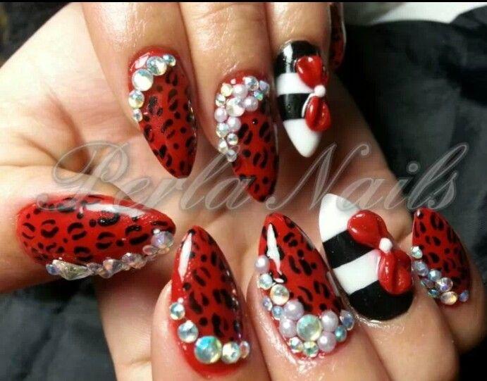 Red cheetah nails