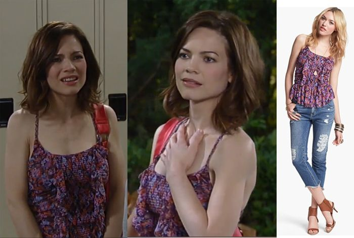 I'm a Soap Fan: Elizabeth Webber's Smocked and Ruffled Purple Top - General Hospital, Season 52, Episode 75, 07/16/14 #GeneralHospital #GH #FreePeople