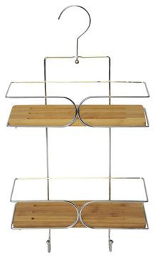 Metal Shower Caddy with Pivoting Hook / Bamboo Shelves / Chrome contemporary-shower-caddies