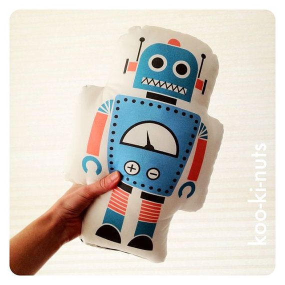 Retrò robot plushy cuscino BLUE sala giochi ragazzi di kookinuts