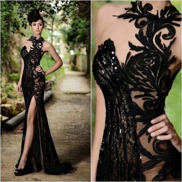 Sexy Vintage de encaje vestidos de fiesta de noche Sexy negro escote corazón con cuentas hasta el suelo Formal vestido de fiesta de boda