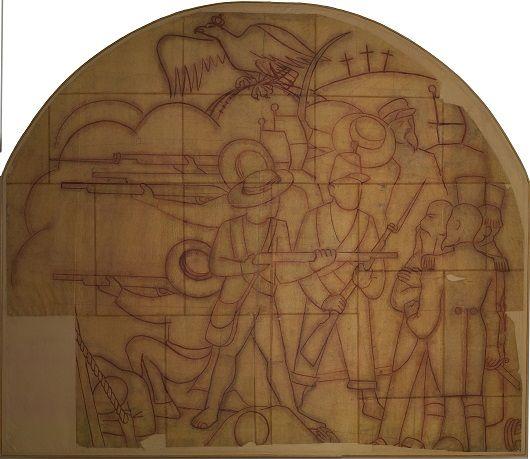 Diego Rivera, L'Exécution de Maximilien, 1935, sépia sur papier entoilé, poncif pour fresque, 295.5x349cm, Museo Dolores Olmedo, Xochimilco; ph. Erik Meza / Javier Otaola