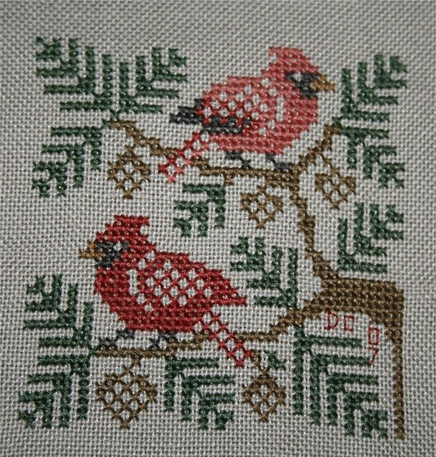 Pinterest Cardinal Cross Stitch | Cardinals in Cross stitch by DianthusMoon (.....cr....I have this ...