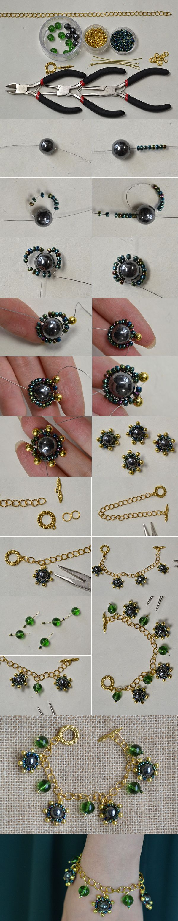 How to Make Your Own Green Chain Charm Bracelet Step by Step from LC.Pandahall.com