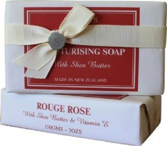 Rose Moisturising Soap $8.90 NZD Delight and indulge in an enchanting body cleansing experience with soap enriched with Vitamin E and Shea Butter, renowned for its moisturising and skin healing properties.  This luxurious creamy soap will impart a soft lingering fragrance of Rouge Roses.  Rose essential oil has many beneficial properties, it tones and lifts skin giving you a shining fresh and youthful look. Its aroma keeps you charged and happy.