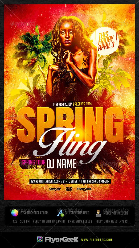 Spring Fling Flyer Template PSD Fonts-logos-icons Flyer template