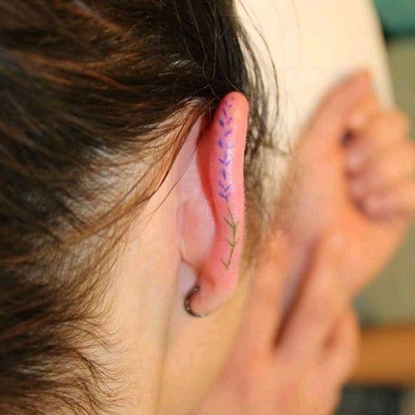 Mini Lavender Ear Helix Tattoo Behind Ear Tattoo Small Shoulder