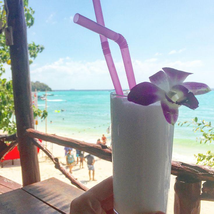 BBM KOREA   Ko Phi Phi Thailand   Enjoying a coconut smoothie in atop a treehouse bar.