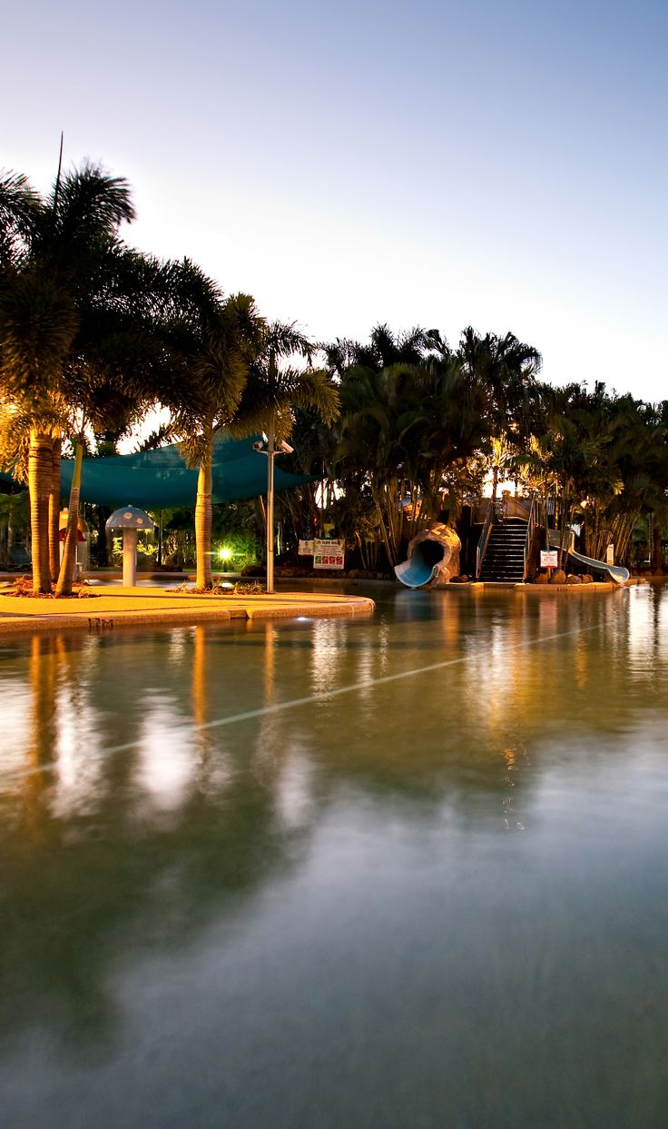 Our pool is the central feature of our resort. It's the largest resort pool in Airlie Beach and features 2 waterslides, a large shallow toddlers area with water mushrooms, a spa corner, and a full lap lane.  http://www.adventurewhitsunday.com.au/play/play-with-us/