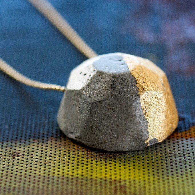 Gem Concrete Necklace - Gold Leaf Gilded Concrete Pendant on a Goldfield Chain, by BAARA Jewelry