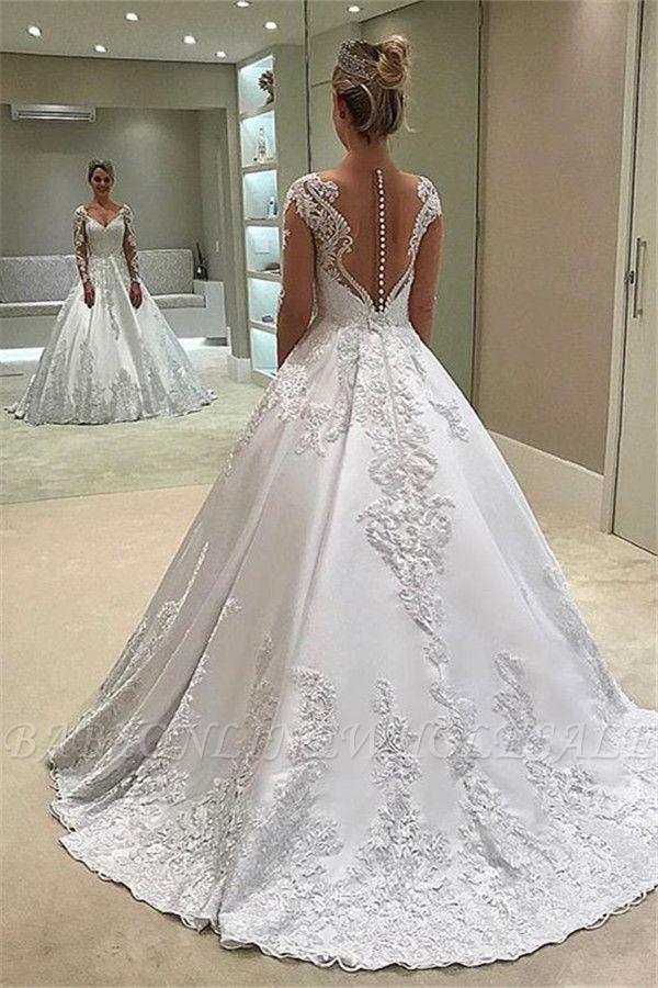 Elegant Lengthy-Sleeves Ball-Robe Appliques Bridal Robe | Babyonlinewholesale