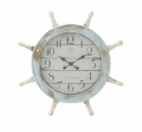 "28"" Distressed Blue White Ship Wheel Wall Clock Nautical Ocean Sea Decor"
