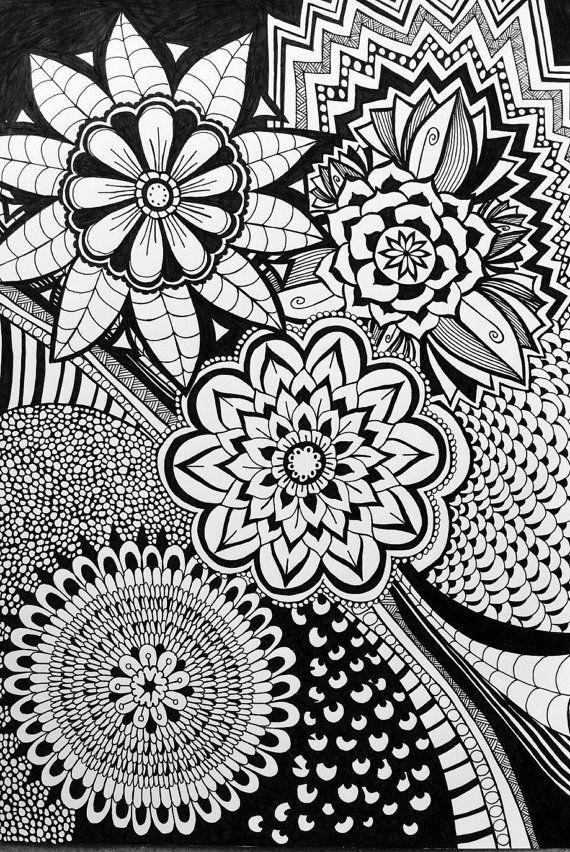 Doodle de zentangle floral blanco y negro por GreenEgoGifts en Etsy